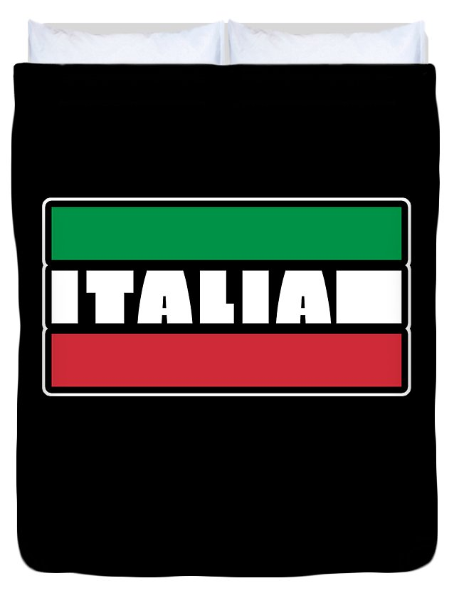 Italy-flag Duvet Cover featuring the digital art Italian Italy Flag Cool Graphic Italia Soccer Football by Thomas Larch
