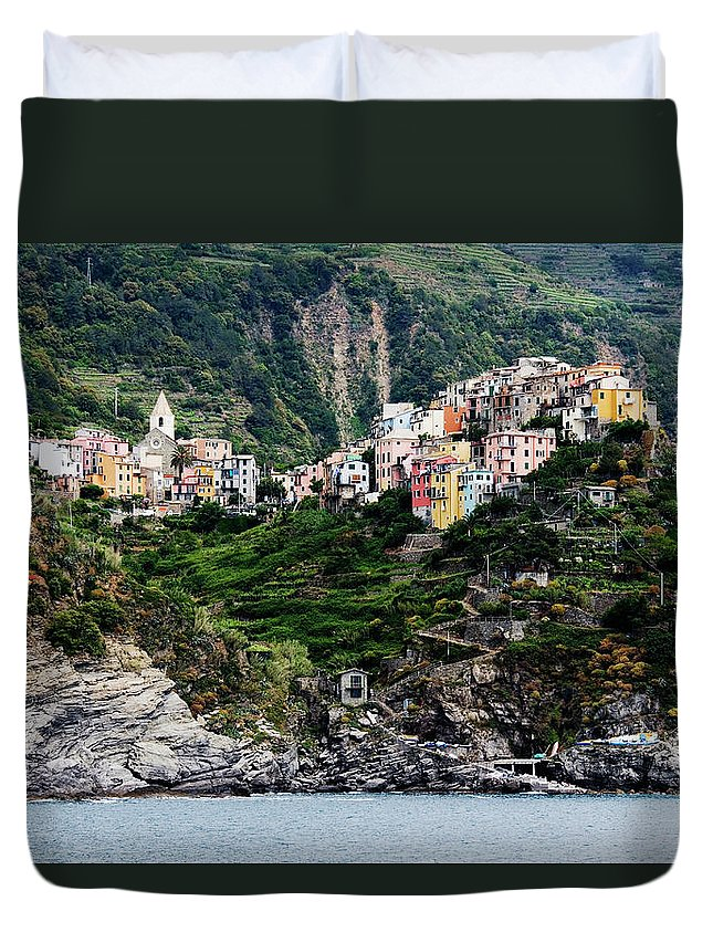 Town Duvet Cover featuring the photograph Italy, Liguria, Corniglia, View From by Jeremy Woodhouse