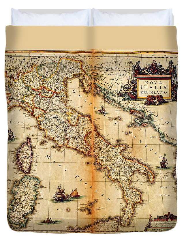 Engraving Duvet Cover featuring the digital art Italy Map 1635 by Nicoolay