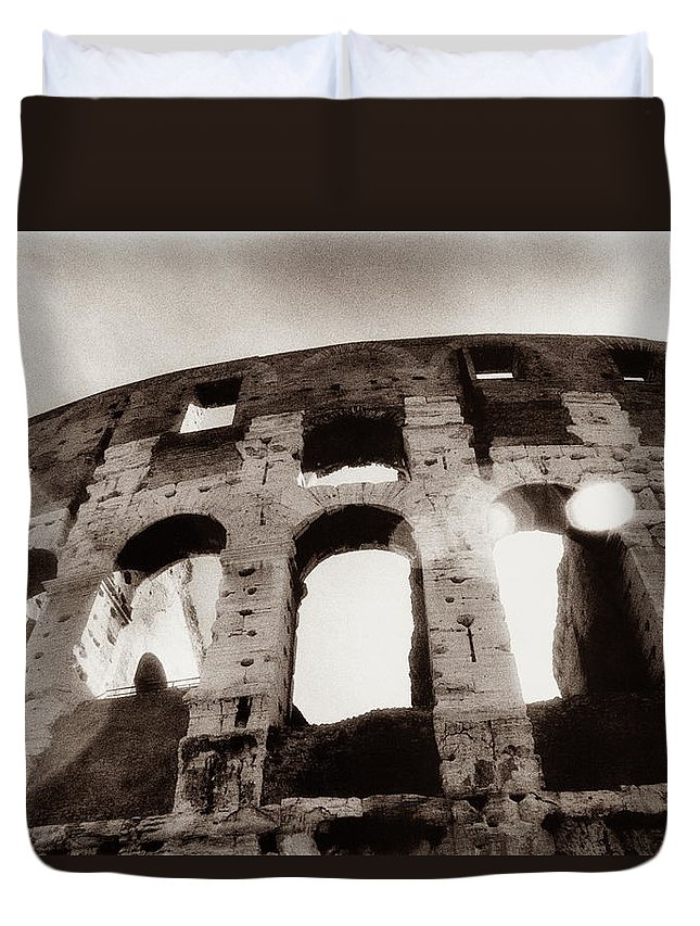 Roman Duvet Cover featuring the photograph Italy, Rome, The Colosseum, Low Angle by Carolyn Bross