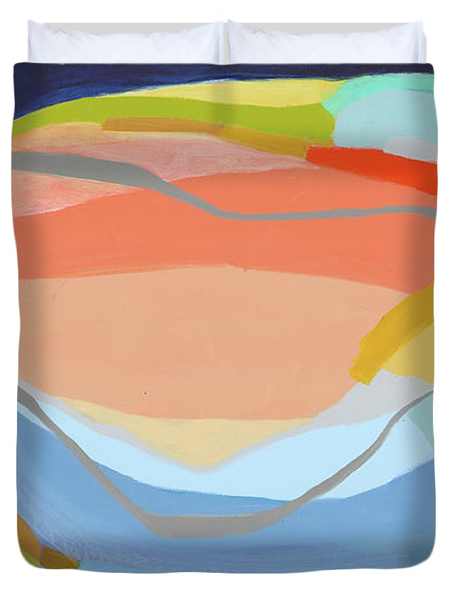 Abstract Duvet Cover featuring the painting It's A New Beginning by Claire Desjardins