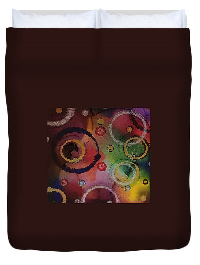 Art Duvet Cover featuring the painting Its so 1970 by Paulina Roybal