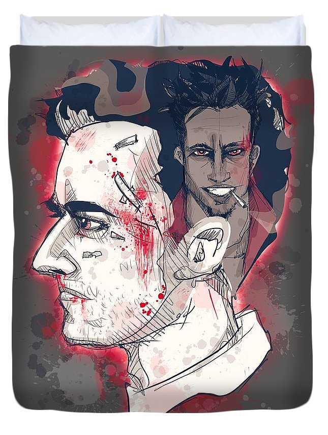 Fight Duvet Cover featuring the drawing Jack's Smirking Revenge by Ludwig Van Bacon