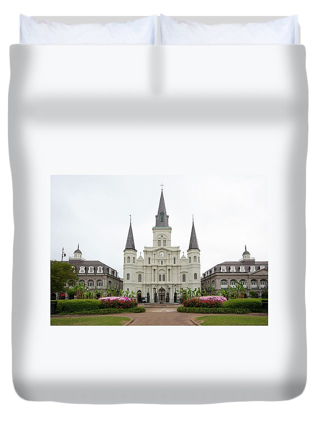 Statue Duvet Cover featuring the photograph Jackson Square New Orleans by Akajeff