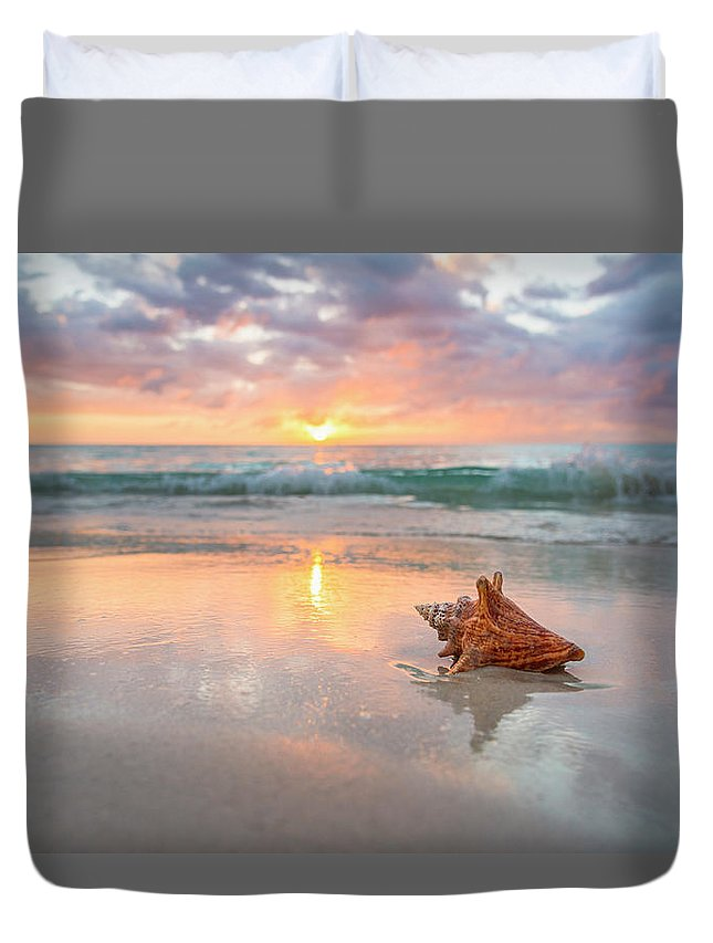 Nature Duvet Cover featuring the photograph Jamaica, Conch Shell On Beach by Tetra Images