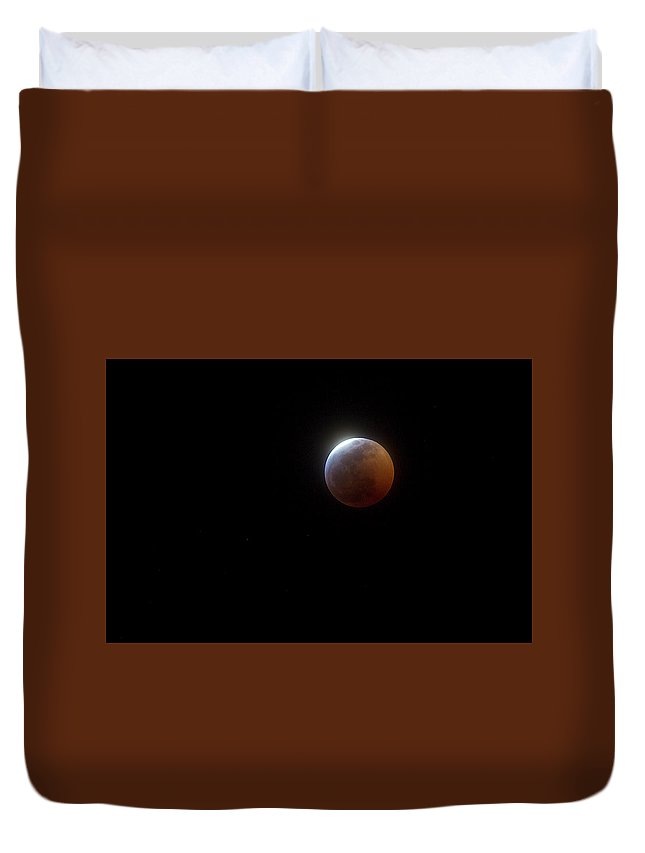 Moon Duvet Cover featuring the photograph January 2019 Midnight Sphere by Betsy Knapp