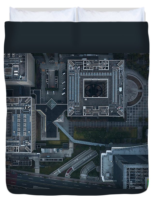 Two Lane Highway Duvet Cover featuring the photograph Japan, Tokyo, Aerial View Of Shinagawa by Michael H