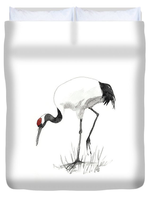 Asia Duvet Cover featuring the painting Japanese Cranes II by Naomi Mccavitt
