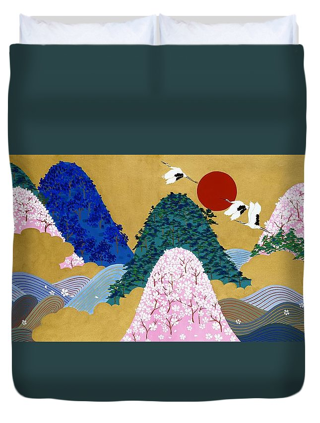 Asian Duvet Cover featuring the painting Japanese Modern Interior Art #3 by ArtMarketJapan
