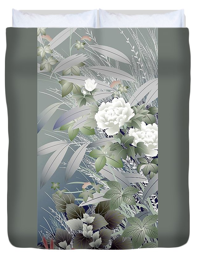 Asian Duvet Cover featuring the digital art Japanese Modern Interior Art #39 by ArtMarketJapan