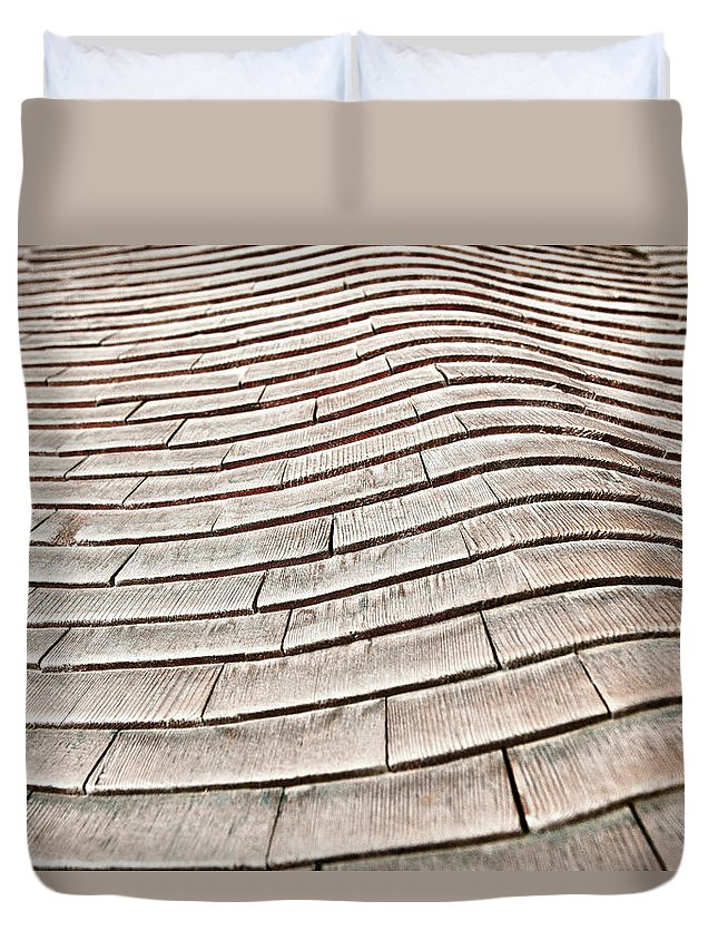 Outdoors Duvet Cover featuring the photograph Japanese Wooden Roof by By Kiko Yera