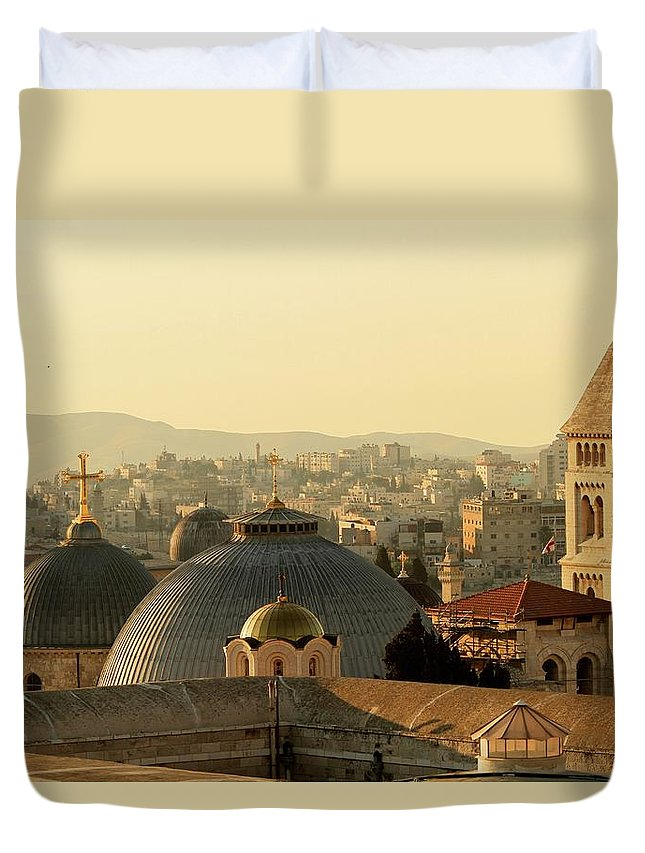 West Bank Duvet Cover featuring the photograph Jerusalem Churches On The Skyline by Picturejohn
