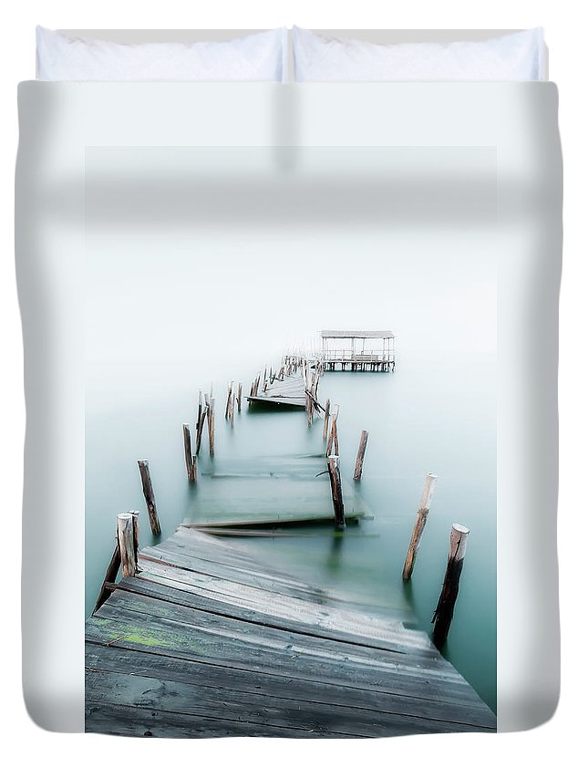 The End Duvet Cover featuring the photograph Jetty by Lt Photo