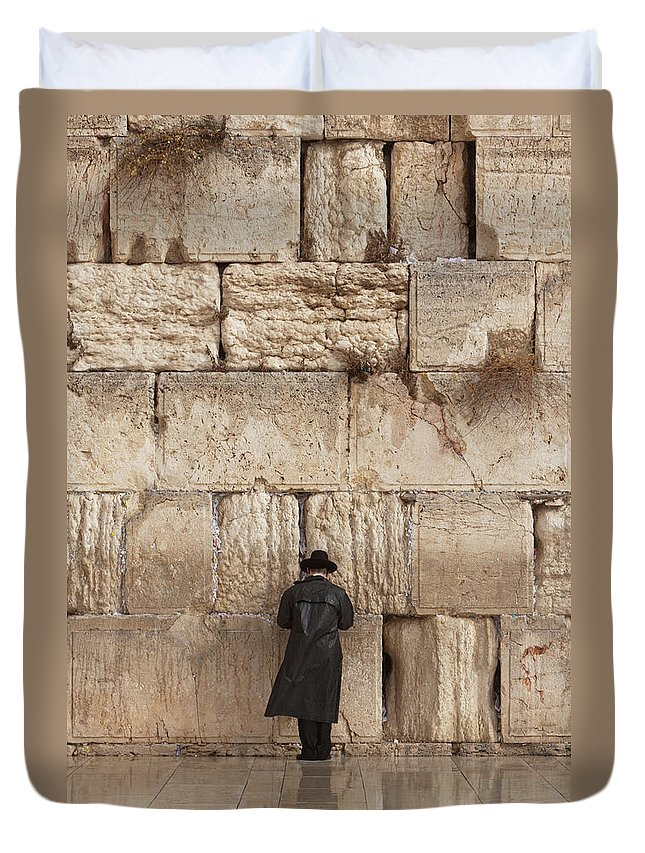People Duvet Cover featuring the photograph Jewish Man Praying On The Wailing Wall by Richmatts