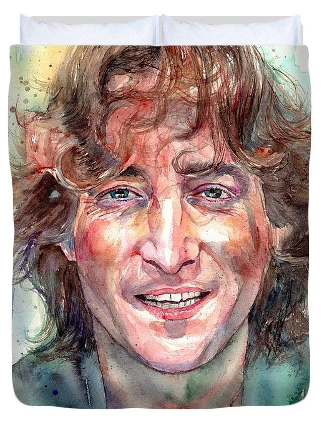 John Lennon Duvet Cover featuring the painting John Lennon Smiling by Suzann Sines