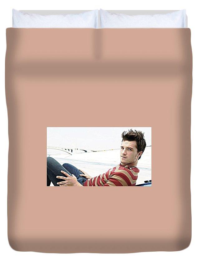 Josh Hutcherson Duvet Cover featuring the digital art Josh Hutcherson by Queso Espinosa