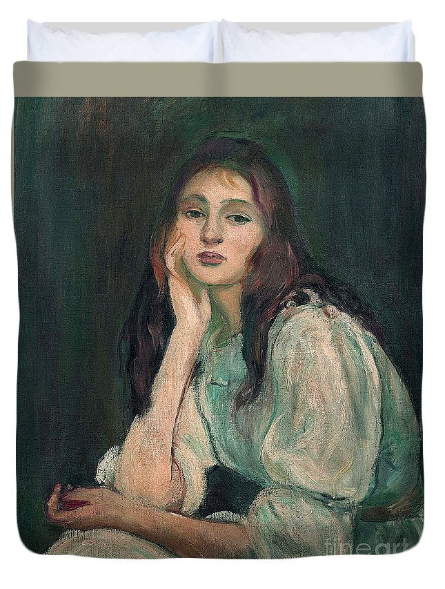 Julie Duvet Cover featuring the painting Julie Daydreaming, 1894 by Berthe Morisot