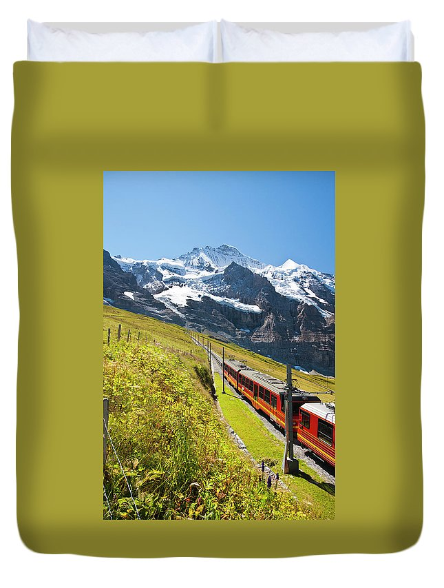 Scenics Duvet Cover featuring the photograph Jungfraubahn, Swiss Alps by Michaelutech