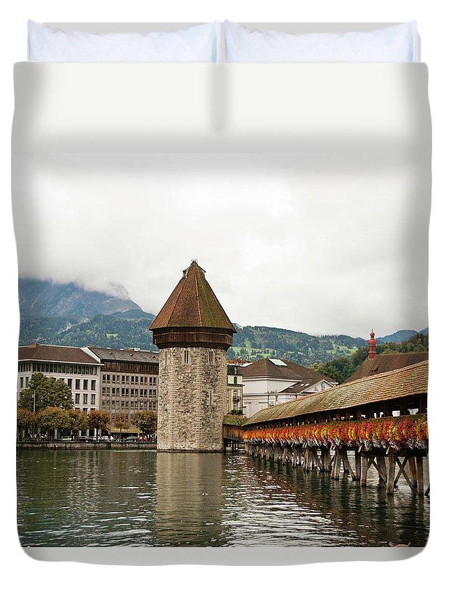 Scenics Duvet Cover featuring the photograph Kapellbrucke On Reuss River, Lucerne by Cultura Rf/rosanna U