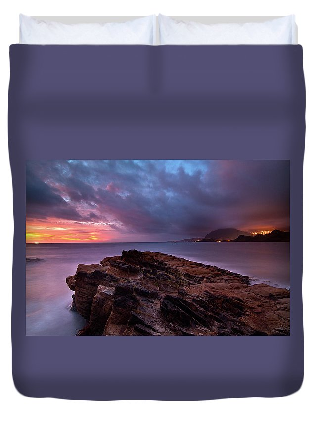 Scenics Duvet Cover featuring the photograph Keelung, Taiwan by Chia-hsing Wu