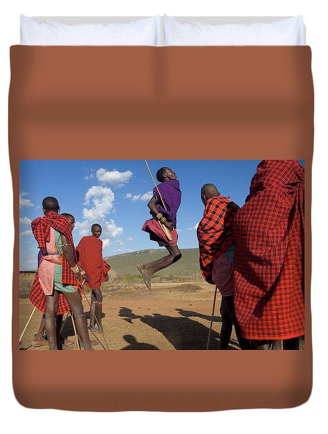 Young Men Duvet Cover featuring the photograph Kenya, Masai Mara, Masai Dancers by Peter Adams