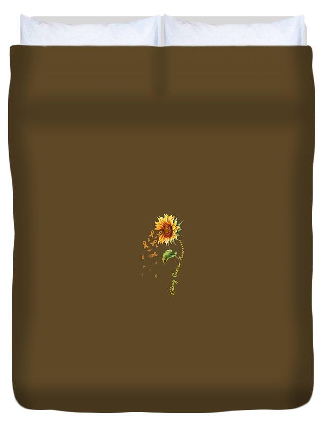 girls' Novelty T-shirts Duvet Cover featuring the digital art Kidney Cancer Awareness Sunflower Shirt by Do David