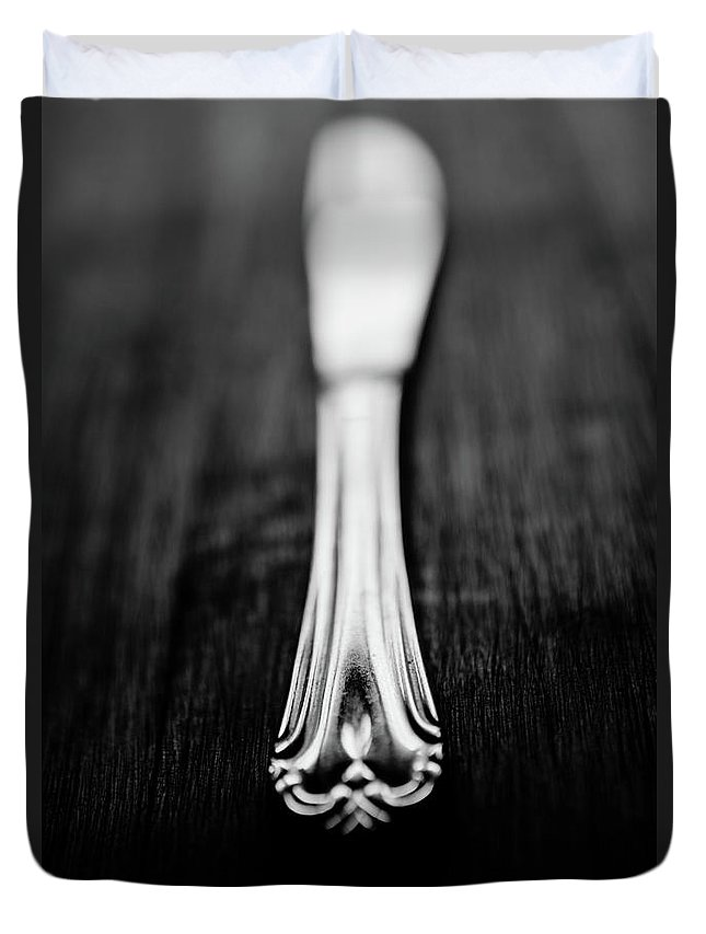 Silver Colored Duvet Cover featuring the photograph Knife by Mmeemil
