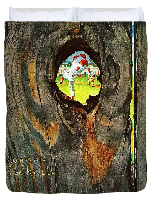 Baseball Duvet Cover featuring the drawing Knothole Baseball by Norman Rockwell