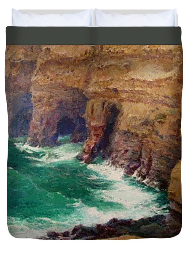 La Duvet Cover featuring the painting La Jolla Caves by Guy Rose