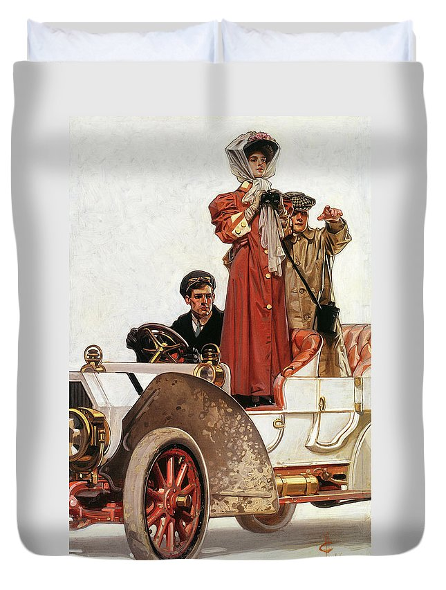 Joseph Christian Leyendecker Duvet Cover featuring the painting Lady And Car - Digital Remastered Edition by Joseph Christian Leyendecker
