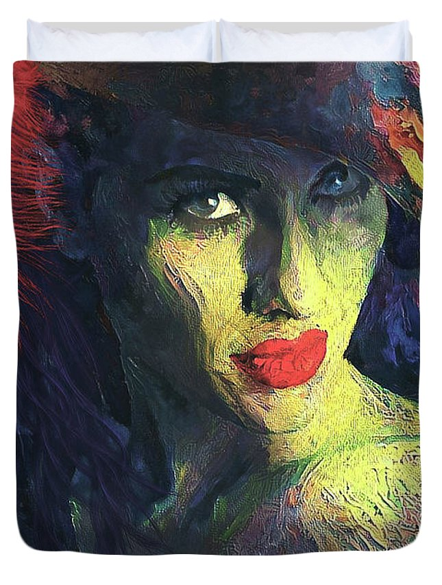 Woman Duvet Cover featuring the mixed media Lady Of Colour by G Berry