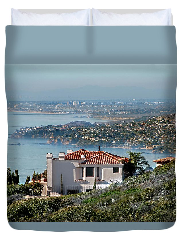 Laguna Beach Duvet Cover featuring the photograph Laguna Beach Hilltop Homes by Mitch Diamond