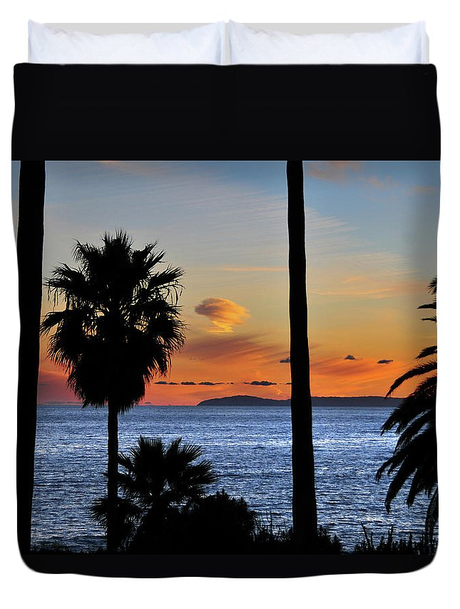 Tranquility Duvet Cover featuring the photograph Laguna Beach Sunset by Mitch Diamond