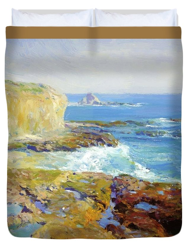 Laguna Duvet Cover featuring the painting Laguna Rocks Low Tide 1916 by Guy Rose