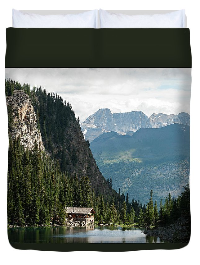 Scenics Duvet Cover featuring the photograph Lake Agnes Teahouse by John Elk Iii