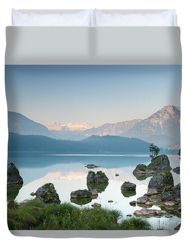 Scenics Duvet Cover featuring the photograph Lake Altaussee With Glacier Dachstein by 4fr
