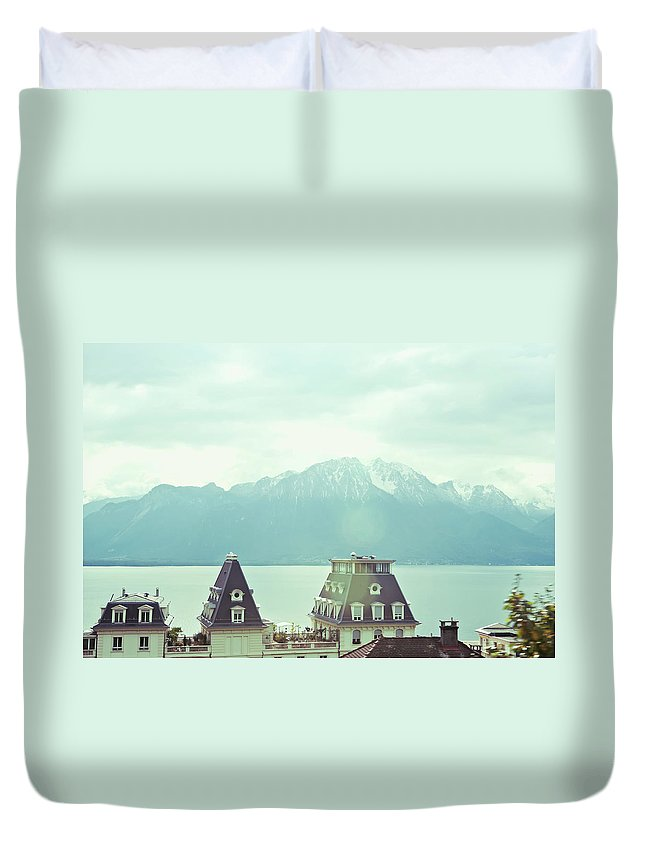 Scenics Duvet Cover featuring the photograph Lake Geneva, Lausanne, Switzerland by Chrispecoraro