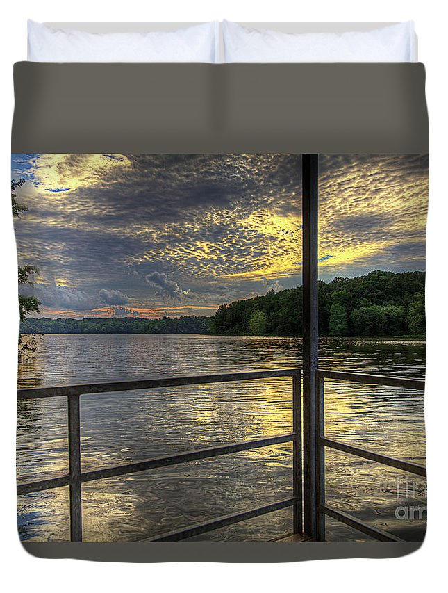 Hdr Duvet Cover featuring the photograph Lake Girardeau Conservation Area by Larry Braun