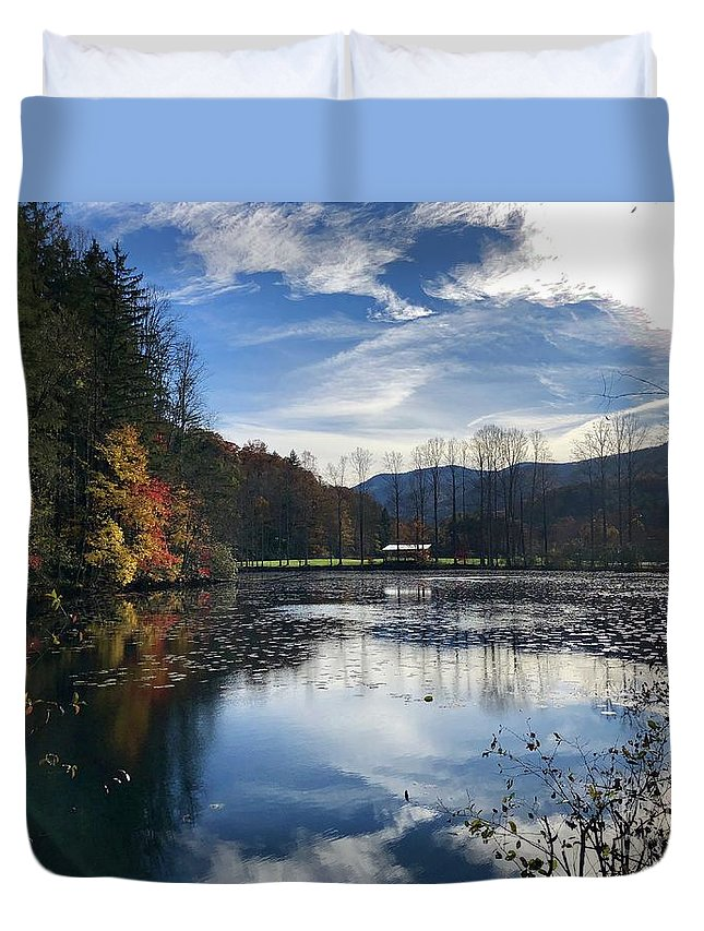Lake Logan Duvet Cover featuring the photograph Lake Logan by Flavia Westerwelle