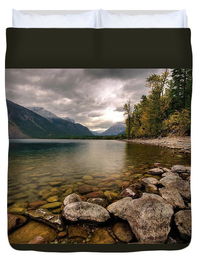 Water's Edge Duvet Cover featuring the photograph Lake Mcdonald by Mason Cummings