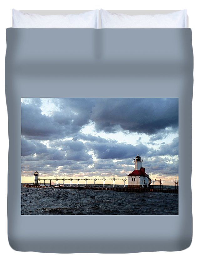 Water Duvet Cover featuring the photograph Lake Michigan Lighthouse by Katherine Taibl