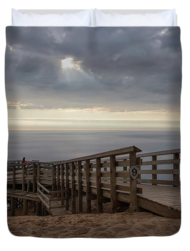 Sleeping Duvet Cover featuring the photograph Lake Michigan Overlook 6 by Heather Kenward