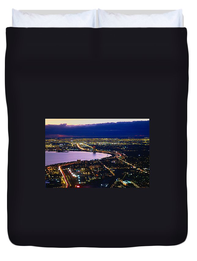 Lake Ontario Duvet Cover featuring the photograph Lake Ontario And Suburban Toronto by Lonely Planet