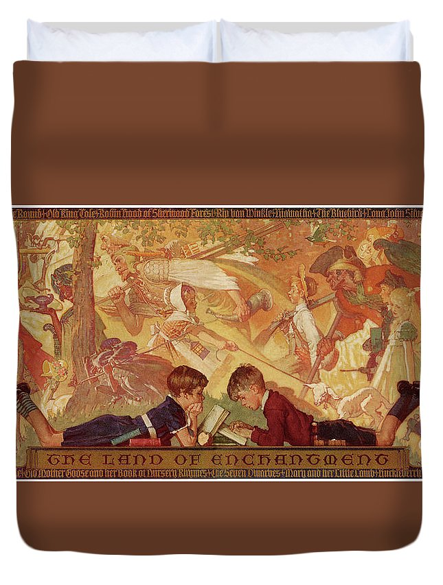 Books Duvet Cover featuring the drawing Land Of Enchantment by Norman Rockwell