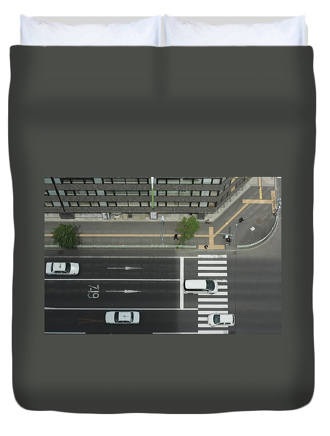 Hokkaido Duvet Cover featuring the photograph Land Vehicles Crossing Pedestrian by Iyoupapa