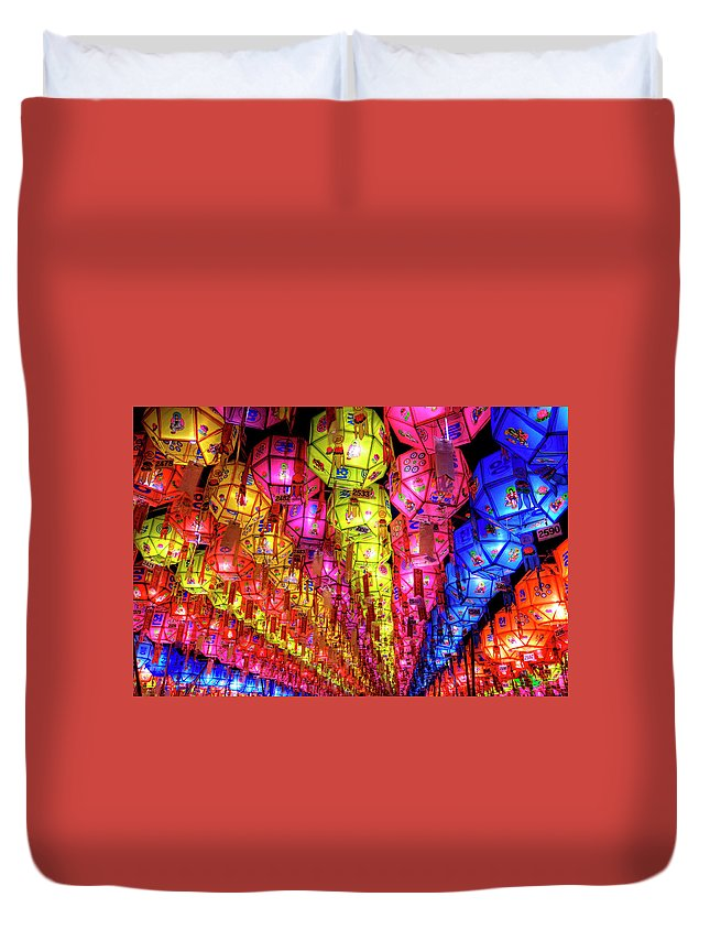 Tranquility Duvet Cover featuring the photograph Lanterns Hanging by Jason Teale Photography Www.jasonteale.com