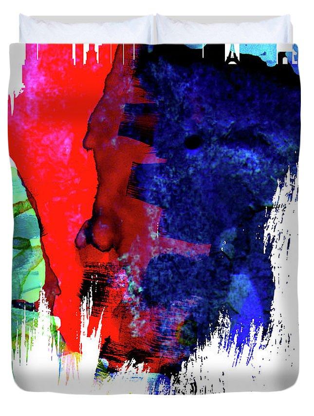 Las Vegas Duvet Cover featuring the mixed media Las Vegas Skyline Brush Stroke Watercolor  by Naxart Studio
