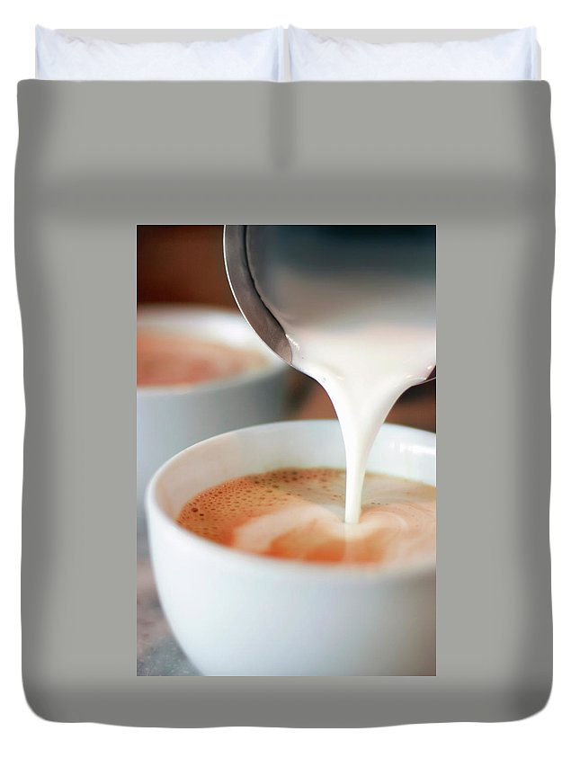 Breakfast Duvet Cover featuring the photograph Latte by Sf foodphoto
