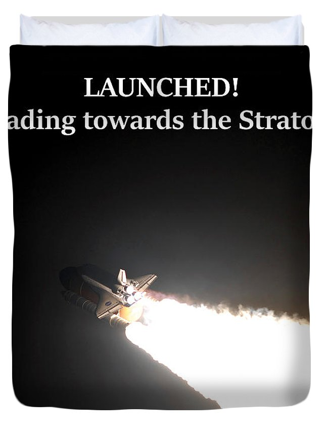 Space Shuttle Duvet Cover featuring the photograph Launched And Heading Towards The Stratosphere by G Matthew Laughton