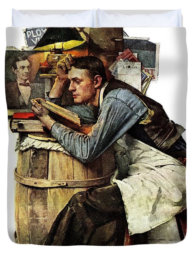 Books Duvet Cover featuring the drawing Law Student by Norman Rockwell